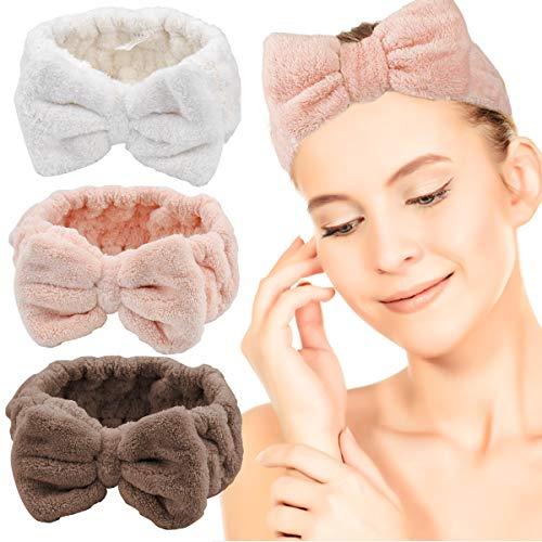 HQdeal 3 Pcs Bowknot Haarbänder für Make-up, Elastische Korallen Samt Stirnband für Damen Mädchen frauen Gesicht Waschen Spa Masken kosmetik Schminken Sport(Braun Rosa Weiß)
