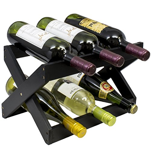 Sorbus Bamboo Foldable Countertop Wine Rack 6-Bottles (Black)