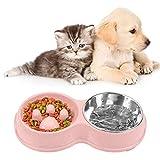O-Kinee Comedero para Perro, Inoxidable Comedero para Gatos Perros, Dog Bowl Slow Eating, Comedero Gato, Alimentación Lenta, Antideslizante Alimentacion Plato Cuenco Doble, para Perros y Gatos Comida