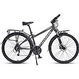 Xiaoyue 27 Speed Rennrad, Männer Frauen 700C Räder Straßen-Fahrrad, Aluminiumrahmen Pendler Fahrrad, ideal for unterwegs oder Dirt Trail Touring, Männer Grau lalay (Color : Men's Black)