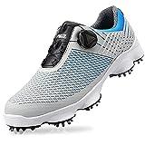 Zapatos de Golf Hombres Transpirable Cómodo Antideslizante Impermeable Microfibra Confort Cuatro Estaciones Calzado Deportivo Equipo de Entrenamiento,Gray,39