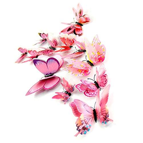 Koly 12 Pcs DIY 3D Butterfly Wall Sticker Fridge Magnet Room Decor Decal Applique (Pink)