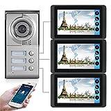 Wifi Video Doorbell, Intercom, 3 Apartments Video Door Phone Security Kit, Night Vision Camera + 7 Inch Monitor, APP Unlock
