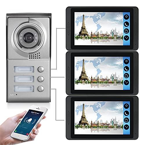 Timbre con video wifi, intercomunicador, kit de seguridad para teléfono con videoportero de 3 apartamentos, cámara de visión nocturna + monitor de 7 pulgadas, desbloqueo de la APP