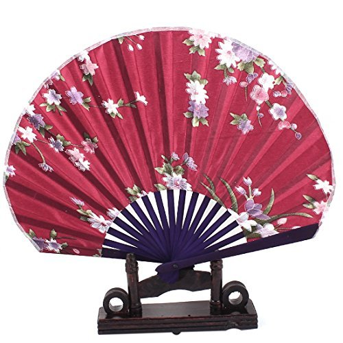 DealMux Chinese Painting Peach Floral Wood Folding Hand Fan Burgundy w Holder