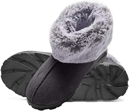Jessica Simpson Tipped Faux Fur Microsuede Super Soft Bootie Slippers with Indoor Outdoor Sole (Size Large, Black)