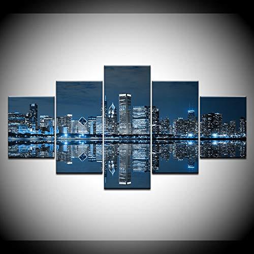 KJLTLD Leinwand Bild - Im Stadtzentrum gelegenes Chicago - 200 x 100 cm Vlies Wohnung Wanddeko Wand Wohnzimmer - 5 Teilig - Kunstdrucke - Fertig zum Aufhängen