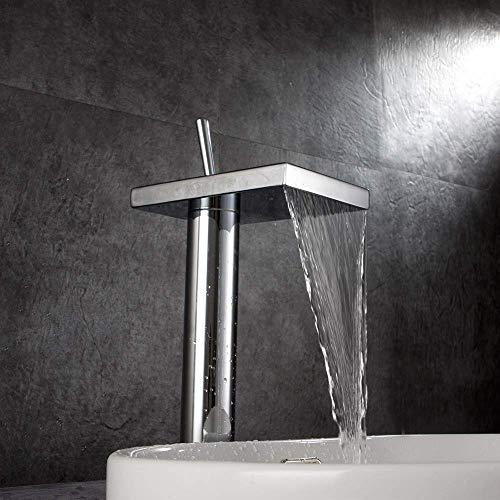 Moderne waterval-uitloop badkamer-wastafel-waterkraan gemonteerd eengreeps wastafelkraan vulstof met afvoergarnituur massief messing hoog high