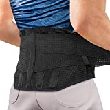 Faja lumbar para espalda, agptek cinturón de soporte lumbar ayuda a aliviar dolor y lesiones, ciática, hernia de disco etc, faja lumbar deportiva para hombre y mujer, negro(talla l)