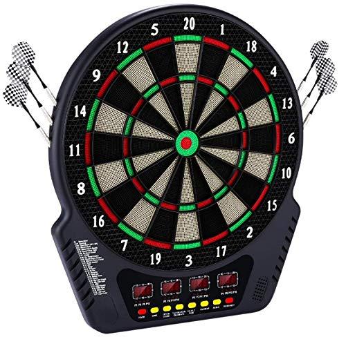 HUKOER Elektronische Dartscheibe Automatische Wertung Soft Darts, Dartbrettspielset Mit 4 Led-anzeigen, Professionelle Dartscheibe 27 Spielmodi Und 243 Varianten, Erhältlich Für 16 Spieler