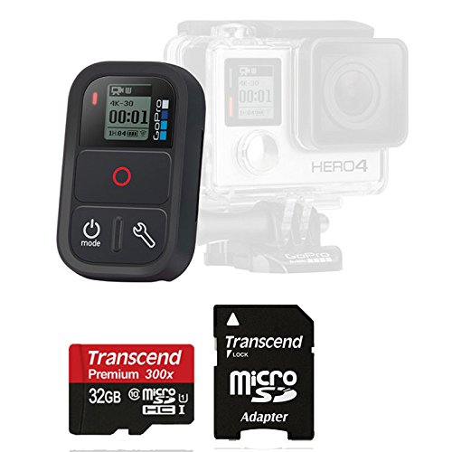 Original GoPro Smart Remote WiFi Waterproof for Hero4 Hero3+ Black Silver (Camera Not Included) with 32GB MicroSDHC SD Card
