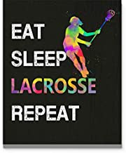 Eat Sleep Lacrosse Repeat Wall Art, 11x14 inch Sport Print, Great Gift Idea for Girl Lacrosse Player, Coach, Referee and Fans