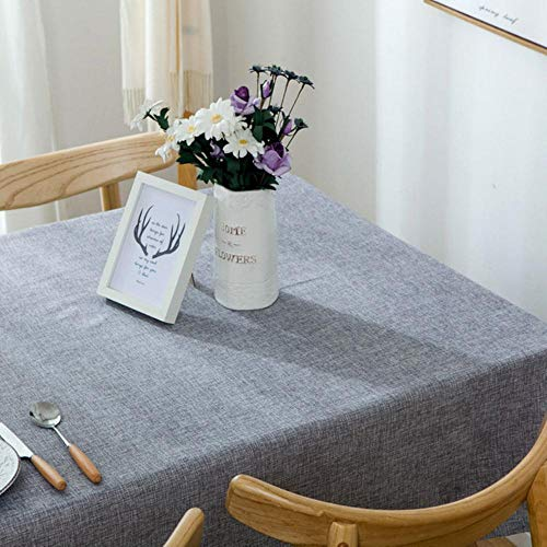 EDCV Home tafelkleed Katoen en linnen Effen kleur Tafelkleed Stof Bureau Salontafelkleed Rechthoekige eettafel Eenvoudig Modern, Grijs