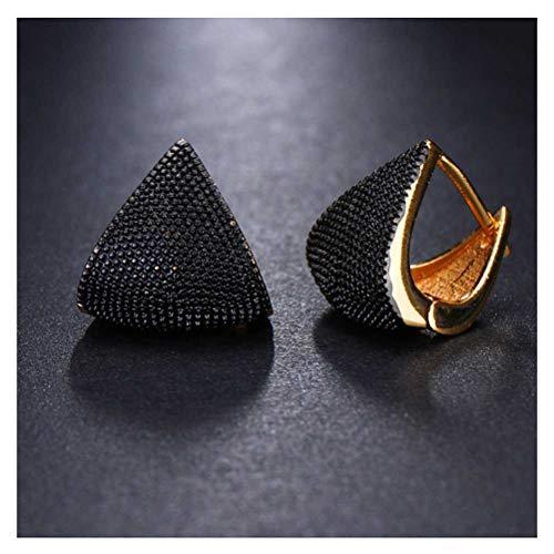 ZAIZAI Pendientes de tuerca geométricos de dos tonos para mujer, diseño de originalidad (color: negro 2)