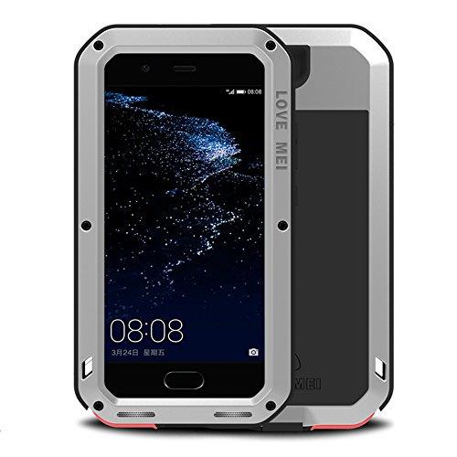 LOVE MEI Huawei P10 Plus Funda, Metal Aluminio Cover Extreme Alta Resistencia Protector Shockproof Military Heavy Duty Carcasa con Cristal de Gorila para Huawei P10 Plus (P10 Plus 5.5', Plata)