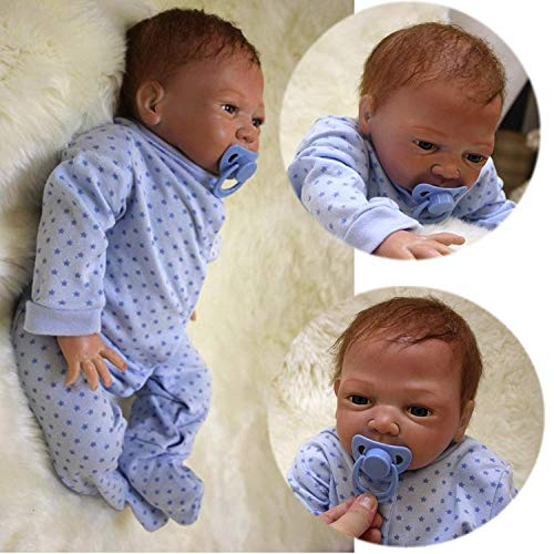 ZIYIUI 20 Zoll Reborn Babypuppe Realistisch 50cm Neugeborene Reborn Silikon Weichkörper Lebensechtes Reborn Babys Junge öffnen Augen Reborn Puppen Magnetisch Mund Geschenke