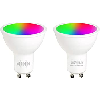 helloify GU10 LED Smart, WiFi Light Bulb Works with Amazon Alexa Google Home, RGBCW Color Changing, Cool Warm White Dimmable, No Hub Required, 40W Equivalent, RGB+2700K-6500K, 2 Pack