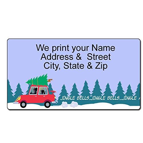 Holiday Car Custom Christmas Address Label - Customized Return Address Label - 90 Address Labels - Personalized Christmas Labels