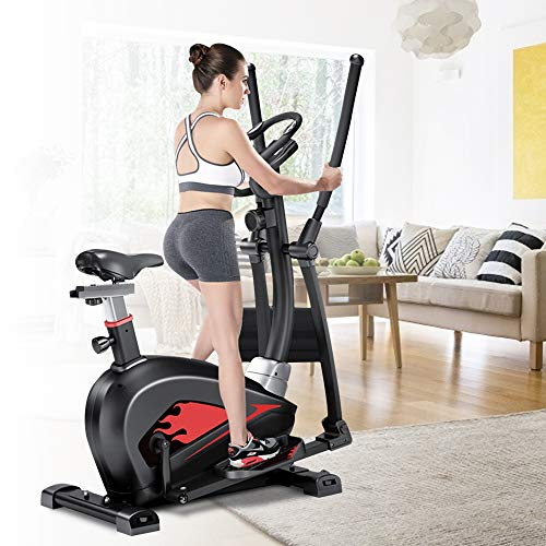 Tribesigns Cross Trainer Machine, 4in1 Elliptical Exercise Machine with 16 Adjustable Magnetic Resistance, Pulse Heart Rate Sensors and LCD Monitor