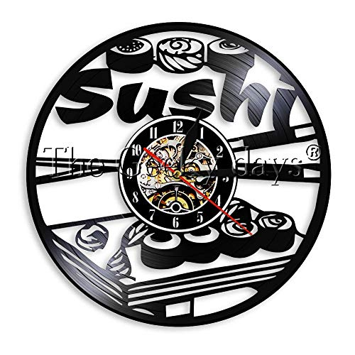 GEDASHU Reloj de Pared de Vinilo Sushi Rollers Design Led Light Sign Kitchen Decor Vinyl Record Clock Delicious Food Wall Art Gift para Sushi Lover