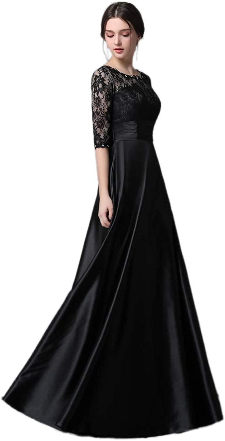 I DUI Bridal Half Sleeve Black Lace Mother of The Bride Dresses A line Satin Floor Length Formal Wear