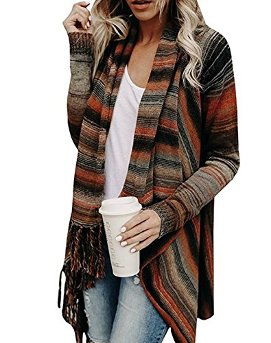 Asskdan Damen Winter B?hmen Quaste Capes Strickjacke Poncho Pullover Sweater