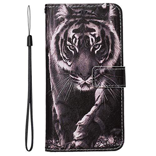 vingarshern Hülle für Samsung Galaxy M11 Schutzhülle Klappbares Flip Lederhülle Magnetverschlüsse Schutztasche Etui Samsung M11 Hülle Leder Brieftasche-(Tiger) MEHRWEG