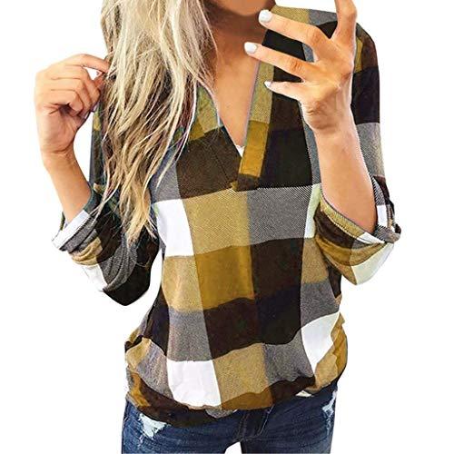 Xmiral Bluse Damen Kariertes Shirt Slim Fit V-Ausschnitt Rollbare Ärmel Tops Sweatshirts Langarm Jacke Stehkragen Hemd Pullover(Gold,L)