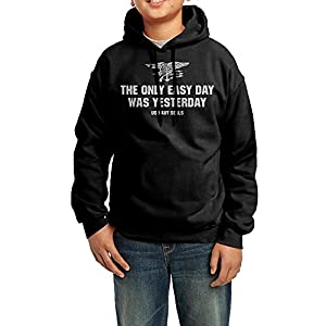 Boys Girls The Only Easy Day Was Yesterday Fleece Hoodie Sweatshirt