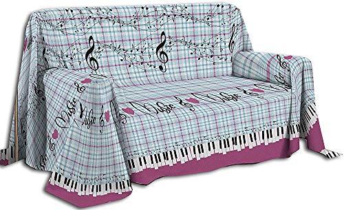 IlGruppone Telo arredo Cotone Fantasia Musica copritutto copridivano Made in Italy - Rosa - Matrimoniale