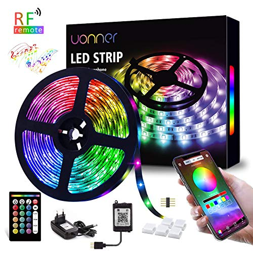 5050 5M LED Strip LED Streifen UONNER Farbwechsel Led RGB Flexible LED Bänder Strips mit RF-Fernbedienung Bluetooth Kontroller Sync zur Musik