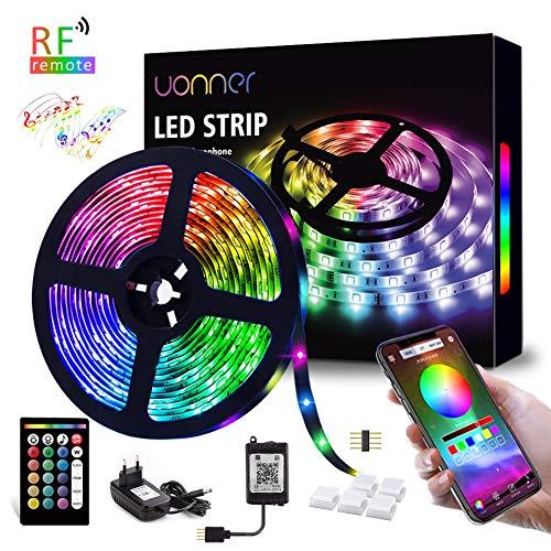 5050 5M LED Strip LED Streifen UONNER Farbwechsel Led RGB Flexible LED Bänder Strips mit RF-Fernbedienung Bluetooth Kontroller Sync zur Musik