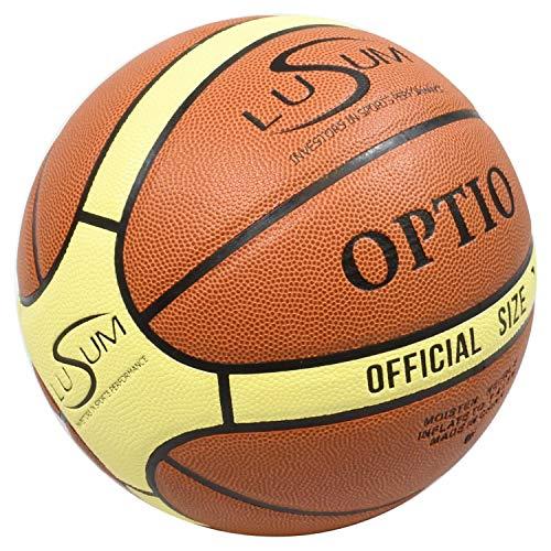 Lusum Optio, pallone da basket per interni ed esterni, in pelle sintetica, misura 5, 6 e 7, Marrone chiaro/crema., Taglia 7