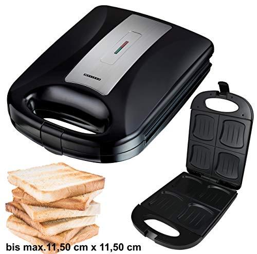 Melissa 16240104 XXL 4 Fach-Sandwichtoaster,Family, XXL-Sandwich Maker, Sandwich Toaster, für alle Toastgrößen geeignet, 4x große Muschelform, kein Auslaufen, kein Verschmieren, 1200 Watt