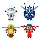 LUNE Super Wings Transform-A-Bots Paquete de 4 | Flip, Todd, Agente Chase, Astra | Figuras de Juguete | Figuras de 2 Pulgadas Robot De Deformación Aeronave Coche Navidad Cumpleaños Año