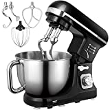 Stand Mixer, Aicok Dough Mixer with 5 Qt Stainless Steel Bowl, 6 Speeds Tilt-Head Food Mixer,...