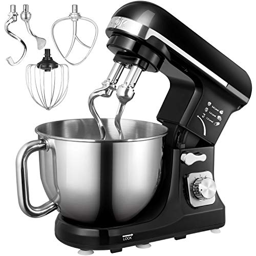 Stand Mixer, Aicok Dough Mixer with 5 Qt Stainless Steel Bowl, 6 Speeds Tilt-Head Food Mixer, Kitchen Electric Mixer with Double Dough Hooks, Whisk, Beater, Pouring Shield, Black