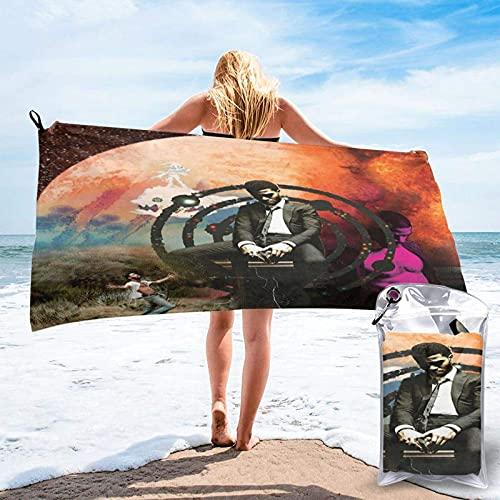 Lsjuee Kid cudi 7 toalla de playa de microfibra de secado rápido, bolsa de transporte, toalla súper absorbente, toalla sin arena, viajes, gimnasio, camping, piscina, yoga, al aire libre y picnic (15,7