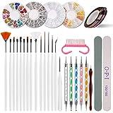 Kit de herramientas para manicura de uñas, pinceles para pintar uñas, pinceles de punto, uñas de estrás, decoración de pegatina, cinta adhesiva para pedicura, 38 unidades