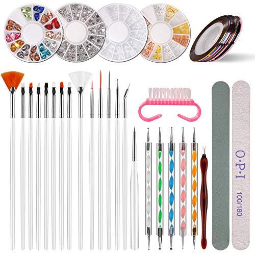 Nail Art Design Set Kit Pennelli Decorazioni, Unghie Arte Design Attrezzi con Pennelli di Nail Art, Unghie Strass Decorazione, Nail Chiodo Adesivo del Nastro della Striatura, Punteggiano Penna