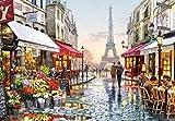SiJOO Puzzles importés, Puzzles, 1000 pièces dans Un Magasin de Fleurs à Paris, pièces de Puzzles en Bois pour Enfants Adultes assemblés, Jouets