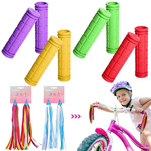 YWQ 4 Paar Fahrradgriffe, rutschfeste Kunststoff Kinder Roller Lenker,Abdeckung Gummigriffe Fahrrad,Kinder-Fahrradgriffe, Bunte Gummi-Pilzgriffe mit Bändern, 4 Farben