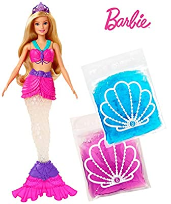 Barbie Dreamtopia Slime Mermaid Doll with 2 Slime Packets, Removable Tail and Tiara, Makes a Great Gift for 3 to 7 Year Olds