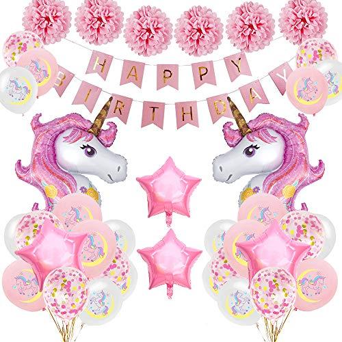 SPECOOL Unicornio Decoración de cumpleaños para niña, Rosa Feliz cumpleaños Conjunto de pancartas Unicornio Papel de Aluminio Globo Látex Confeti Fiesta en Globo Decoración Chica Novia