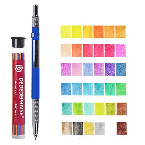 Color Pencil Lead ?36 Thick Refills Core Colored Automatic Drawing 2mm Assorted Refill Mechanical Pre-Sharpened with Container for Drafting