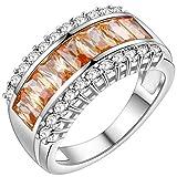 KnBoB 925 Silber Ring Rechteck mit Champagner Zirkonia Verlobungsringe Klassisch Größe 52 (16.6)