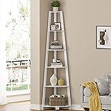 EPEHX 5 Tier Corner Shelf, Modern Wood Corner Ladder Shelf, Display Rack Multipurpose Bookshelf and Plant Stand for Living Room, Kitchen, Home Office (White)