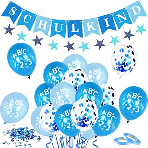 Bluelves Decoración de inscripción Escolar para niños,ABC 123 Globos + Guirnalda Escolar Azul para niños, Pancarta de decoración de Estrella Azul de 4 Metros