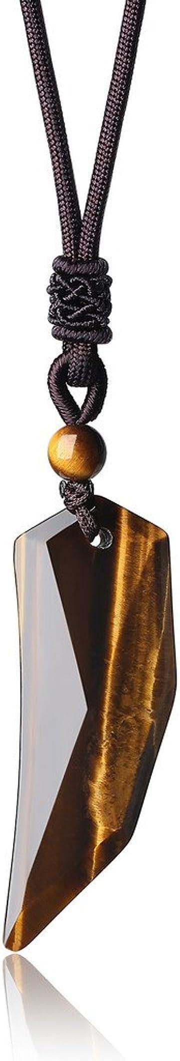 Collana pendente dente di lupo con pietre naturali - collana pendente unisex con laccio regolabile coai N415-1U