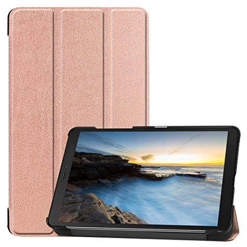 YUNCHAO Tri-fold Cowhide Texture Horizontal Flip Leather Case for Galaxy Tab A 8.0 2019, with Holder(Black) (Color : Rose Gold)
